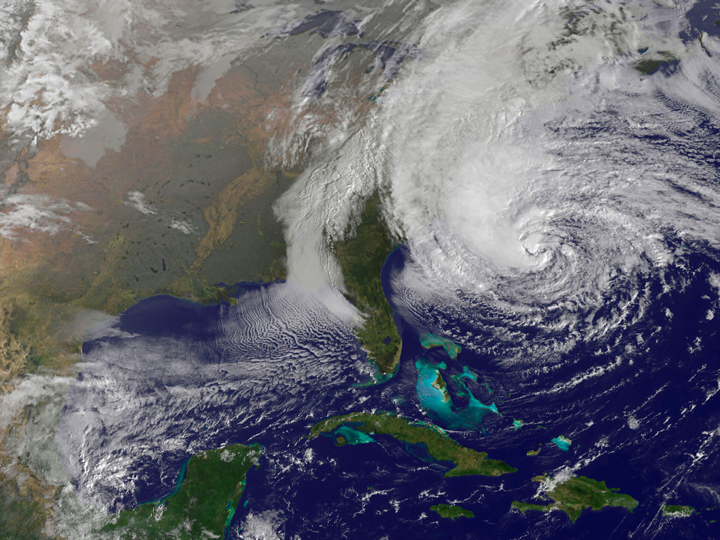 Picture NOAA National Hurricane Center shows Sandy as it approaches ...