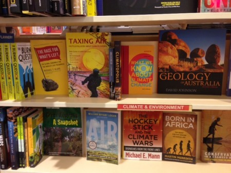 Book shelf displaying climate change books at Dymocks book store